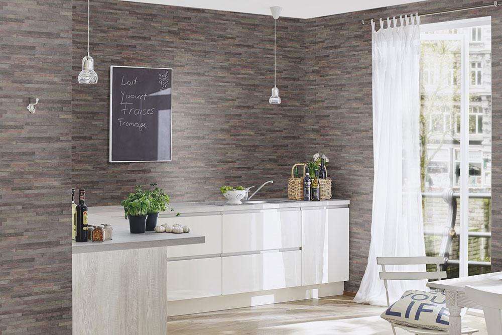 Küche mit Tapete
